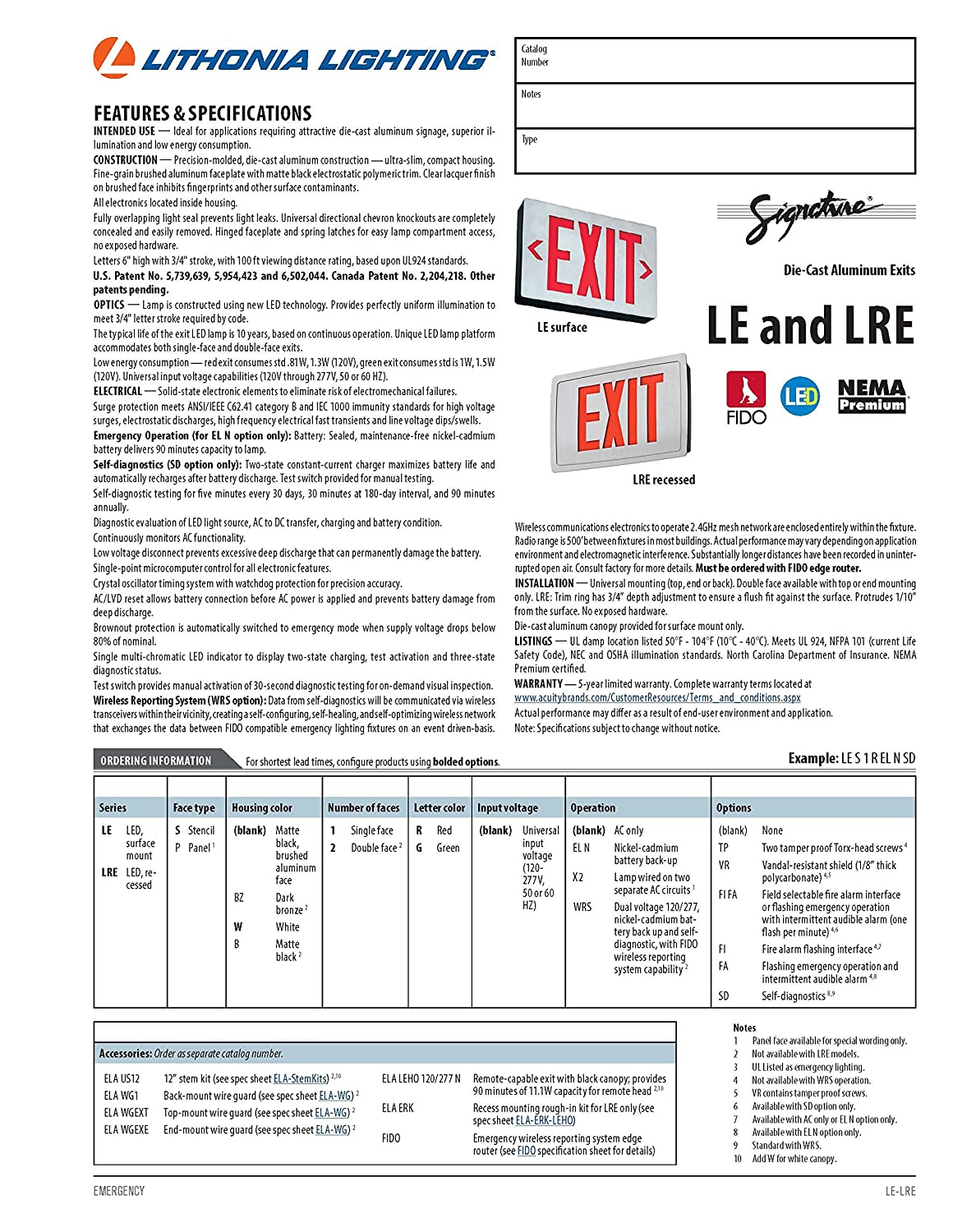 Lithonia Lighting LE S 1 R EL N SD Aluminum LED Emergency Exit – Exit Sign Wiring-diagram 277v
