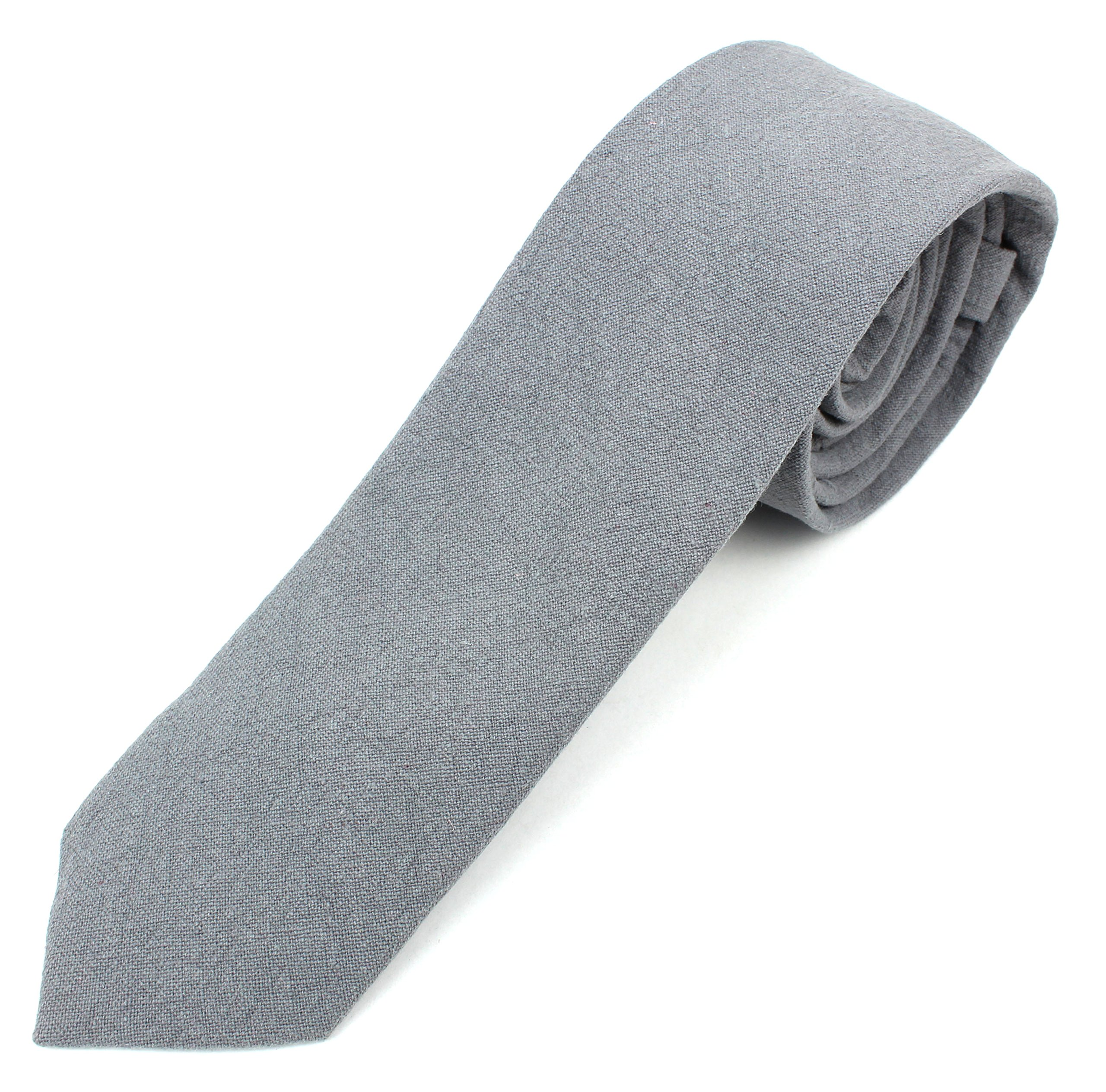 Men's Skinny Necktie Tie Textured and Distressed Finish - Gray