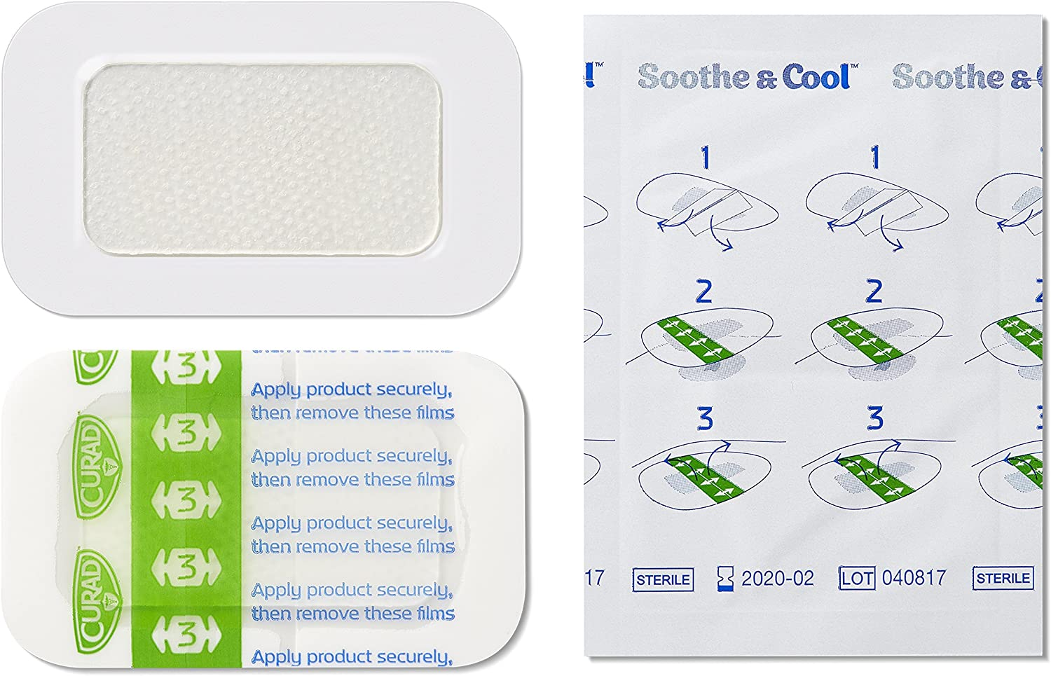 "CURAD Soothe & Cool Burn Bandages, Instant Cooling, 1.8"" x 2.96"", 8 count: Health & Personal Care"