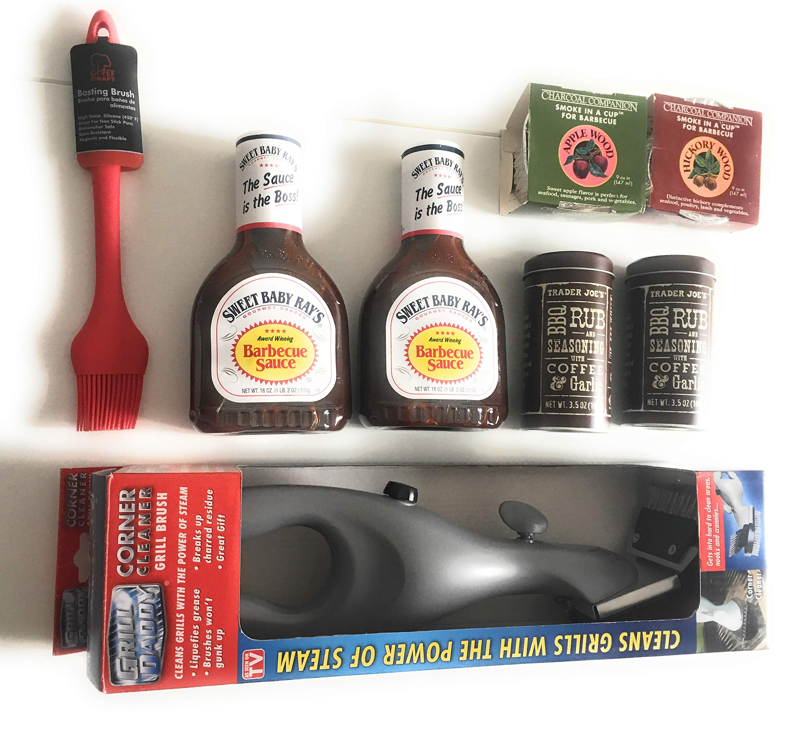 Summertime BBQ Gift Bundle - Featuring Coffee Rub Seasoning | Grill Daddy Steam Cleaning Brush + Scraper | Hickory + Apple Wood Smoke in a Cup | Sweet Baby Ray's BBQ Sauce with Silicone Basting Brush by Grill Daddy and Others
