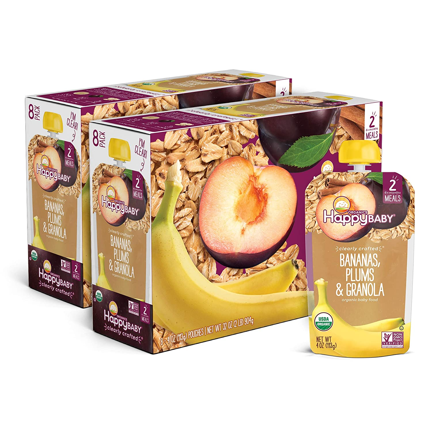Happy Family Happy Baby Organic Clearly Crafted Stage 2 Baby Food, Bananas, Plums & Granola, 4 Ounce Pouch (Pack of 16)