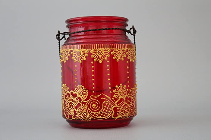 Red And Gold Bohemian Hanging Glass Lantern Boho Home Decor