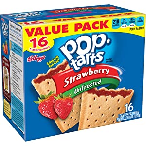 Kellogg's, Pop Tarts, Unfrosted Strawberry Toaster Pastries, 16 Count, 29.3oz Box (Pack of 2)