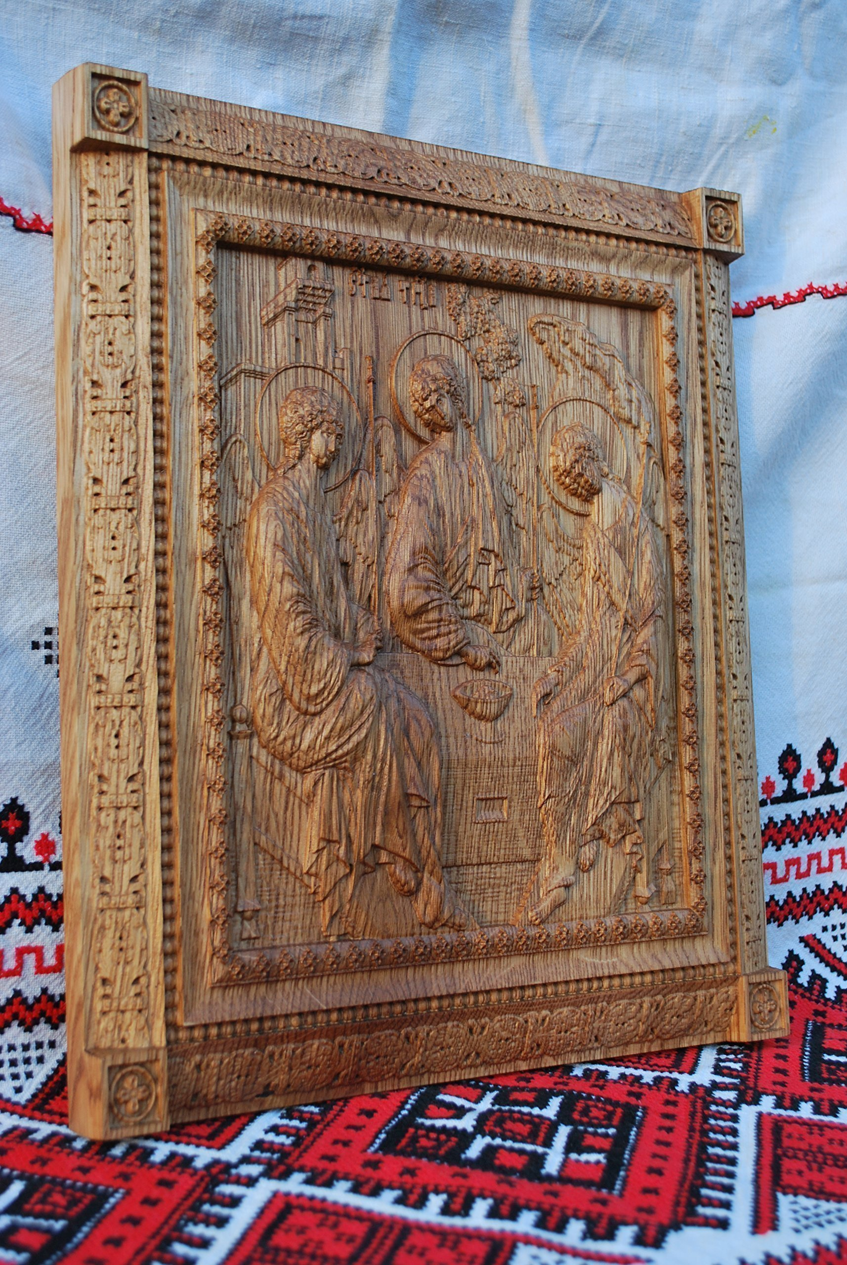 Holy Trinity Icon personalized religious gift Wood Carved religious wall plaque FREE ENGRAVING FREE SHIPPING by Woodenicons Artworkshop ''Tree of life'' (Image #4)