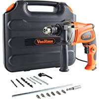 VonHaus 1050W Hammer Impact Drill - Stainless Steel Depth Gauge Heavy Duty Electric Corded Driver - Variable Speed - 13pc Drill Bits Set
