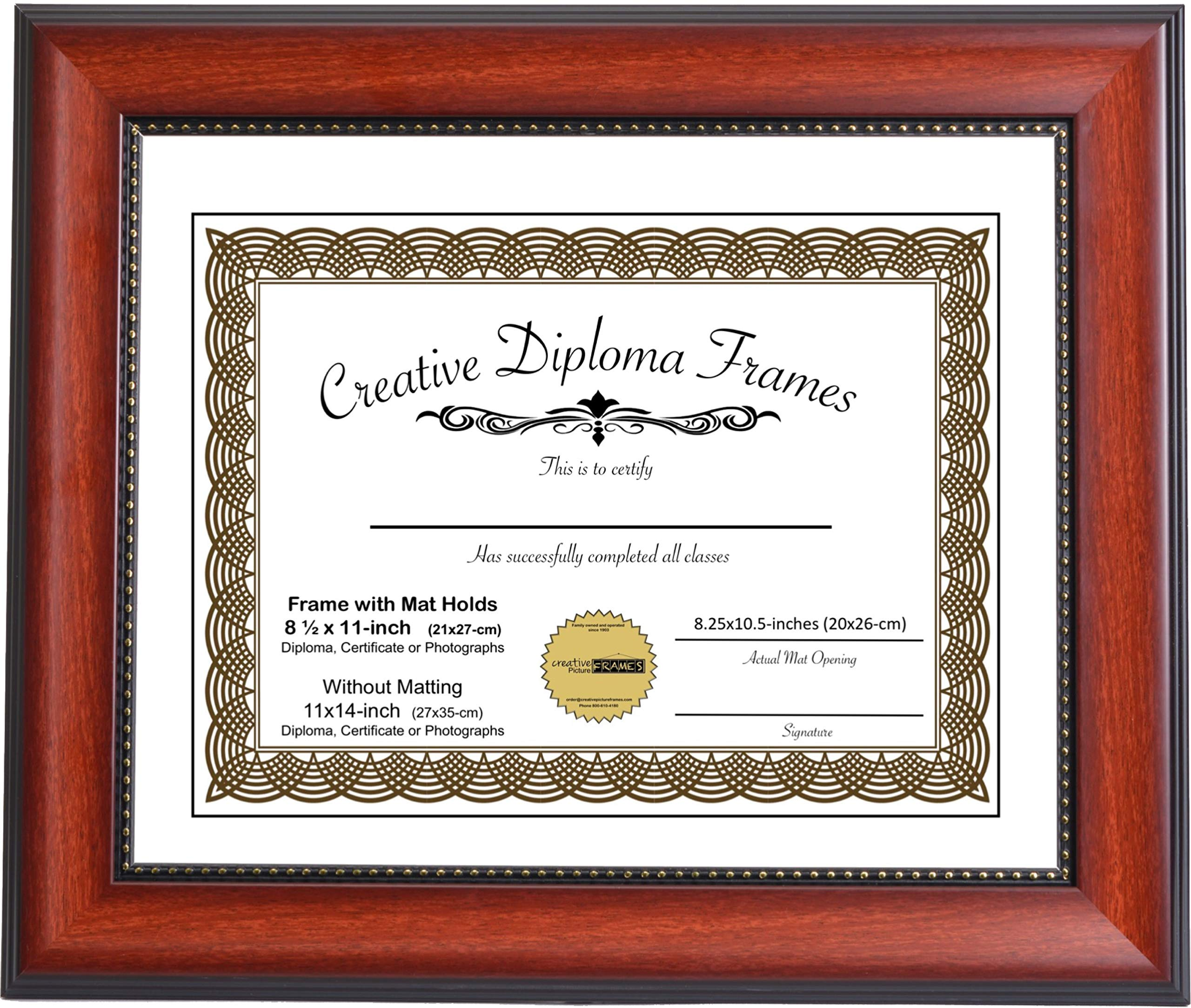 CreativePF [mh930-w] 11x14-inch Eco-Mahogany Beaded Lip Collection Diploma Frame with White Mat Holds 8.5x11-inch Media, with Installed Hangers for Either Orientation