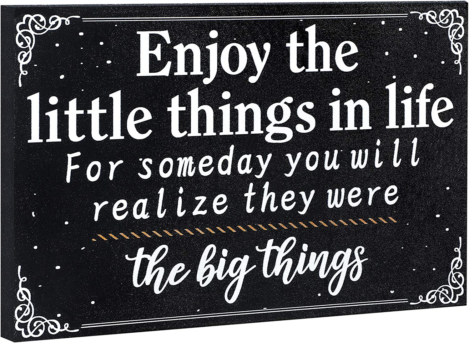 Jetec Grad 2021 Sign Enjoy The Little Things Wooden Wall Farmhouse Decorative Inspirational Signs, Funny Positive Wall Plaque Rustic for Happy Life Table Decor for Home Room Office 7.87 x 5.1 Inch