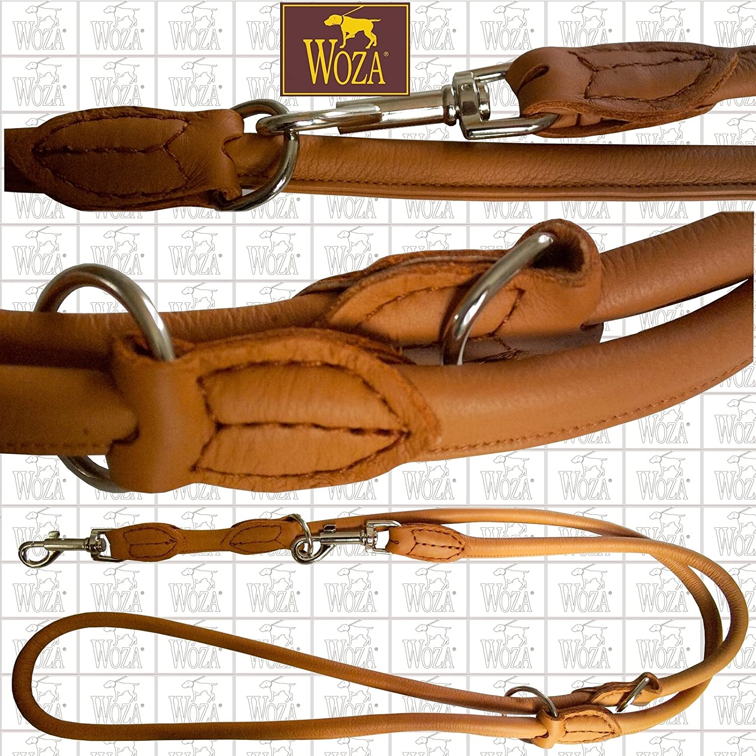 13 200CM Premium Rounded Shape and Scandinavian 200 cm Long Nappa Cognac Hand Made Leather Leash Lead