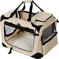 Songmics 50 x 35 x 35 cm Bolsa de transporte para mascotas Transportín plegable para perro Portador Tela Oxford beige PDC50W