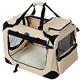 SONGMICS ペットキャリー 犬 猫 キャリーバッグ キャリーケース 折りたたみ 50×35×35cm ベージュ NPDC50W
