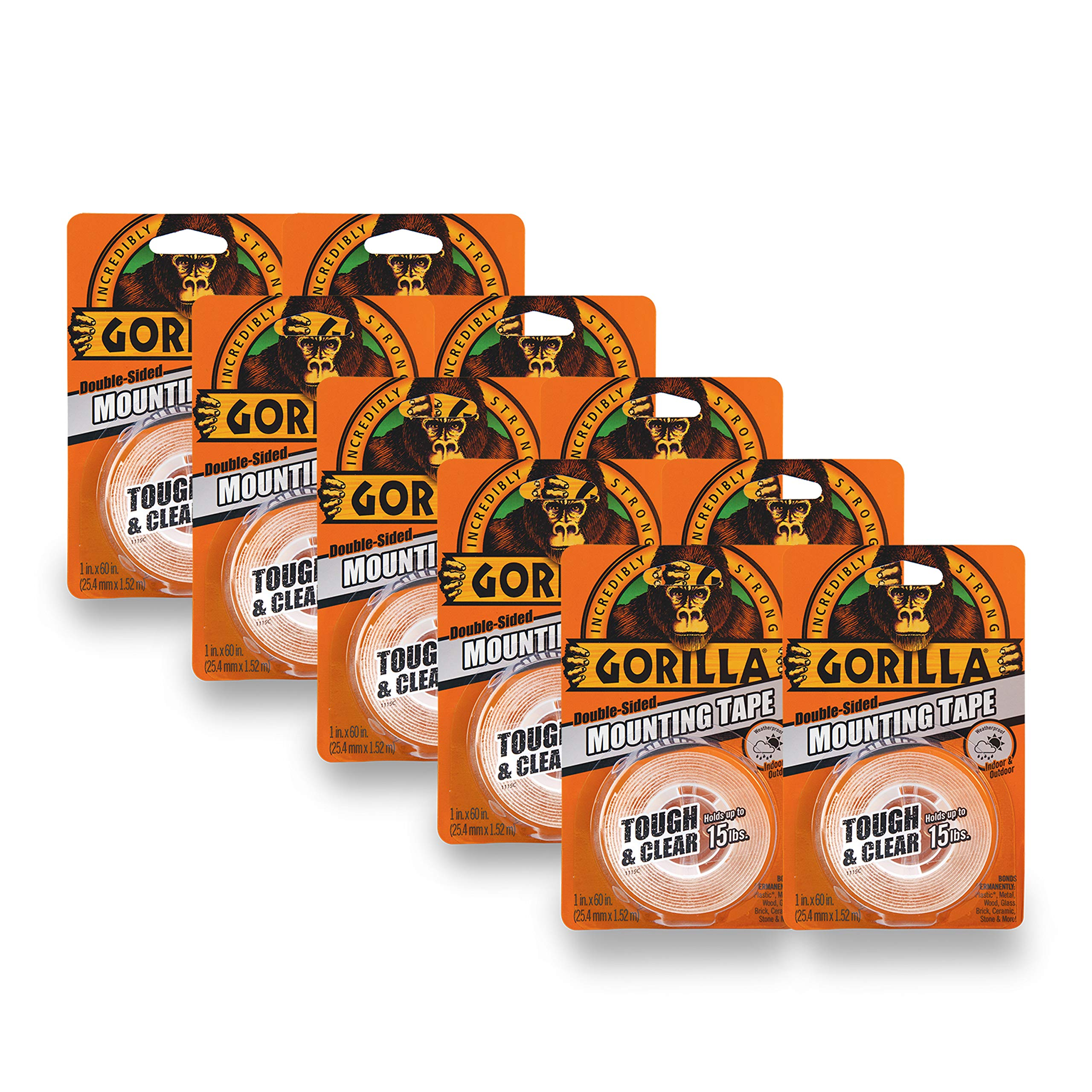 Gorilla Tough & Clear Double Sided Mounting Tape, 1 Inch x 60 Inches, Clear, (Pack of 10) by Gorilla