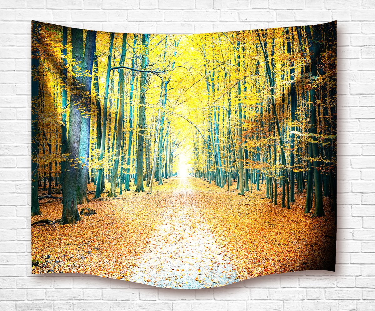 IMEI Golden Forest Tapestry Wall Hanging by, Nature Yellow Autumn Time Fabric Wall Decor Kids Girls Bed Throw Sofa Cover Living Room Dorm (Golden Woods with Leaves, 80 X 60 Inch) by IMEI (Image #6)