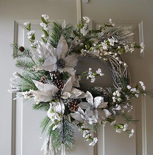Silver Christmas Wreath.Amazon Com White Silver Christmas Wreath Winter Wreath