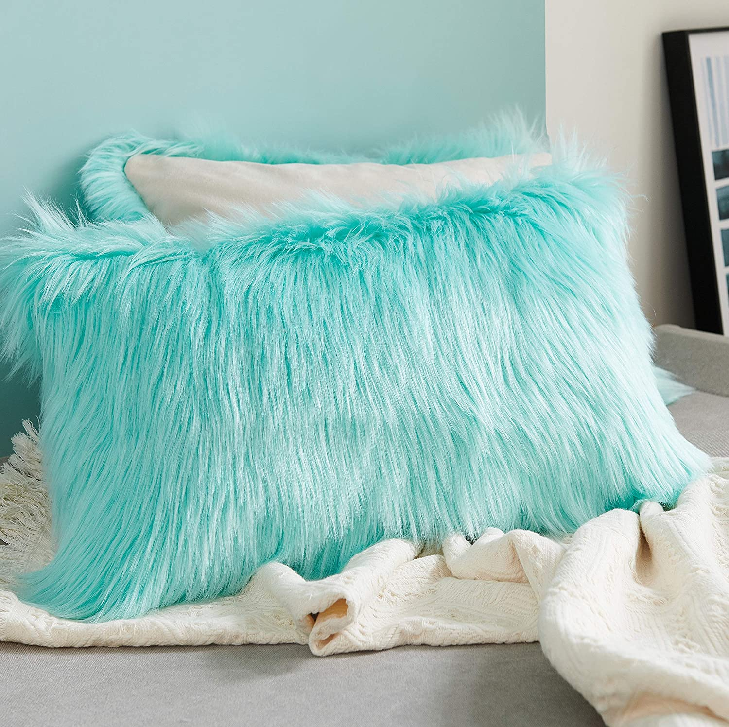 Foindtower Lumbar Fluffy Faux Fur Square Decorative Throw Pillow Cover Plush Soft Cushion Cover Pillowcases for Livingroom Couch Sofa Nursery Bed Home Decor 12x20 Inch (30x50cm) Light Green 1 Piece