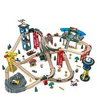 KidKraft 17809 Set Treno Giocattolo in Legno per Bambini Super Highway con 80 Pezzi Inclusi