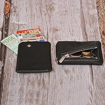 7073d3a6dd1bf Donbolso Mini-Geldbörse I Kartenetui mit Münzfach aus Vintage-Leder I  Unisex I Slim