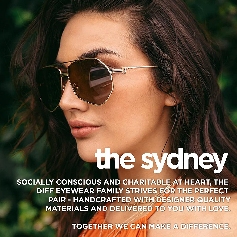 824555ea431e Amazon.com: Diff Eyewear: Sydney - Designer Aviator Sunglasses - 100%  UVA/UVB: Clothing