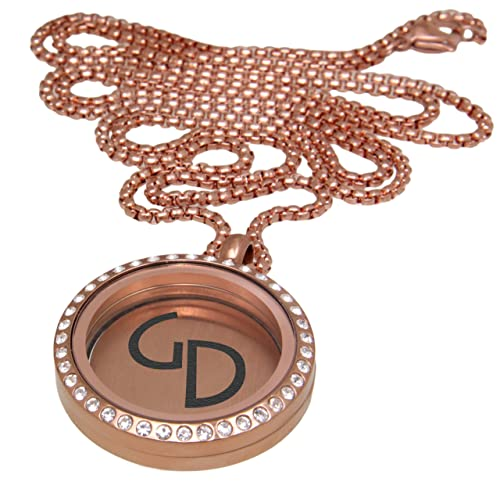 redonda colgante de oro medallón Acero Inoxidable PVD color ...