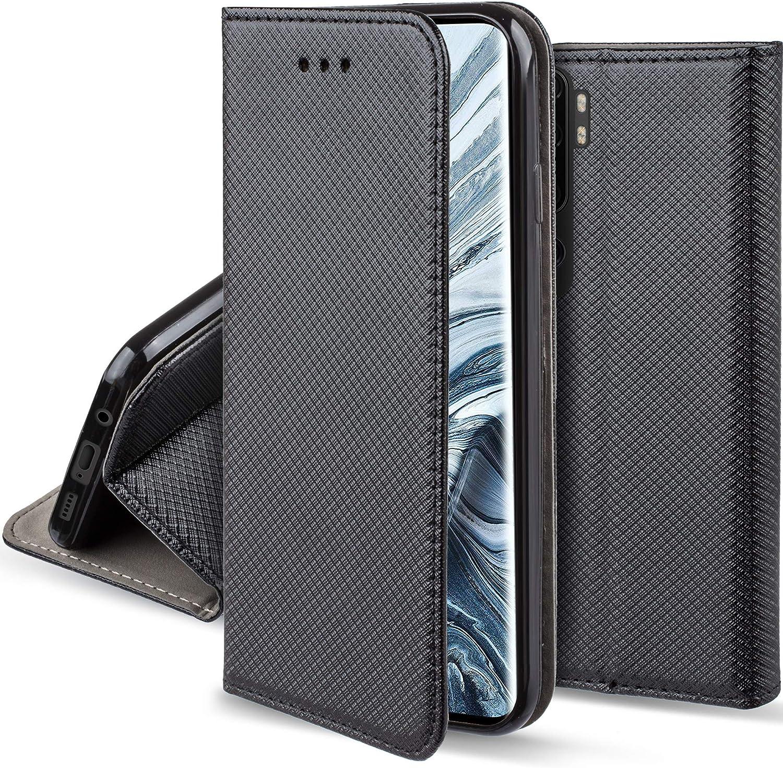 Moozy Funda para Xiaomi Mi Note 10, Xiaomi Mi Note 10 Pro, Negra - Flip Cover Smart Magnética con Stand Plegable y Soporte de Silicona