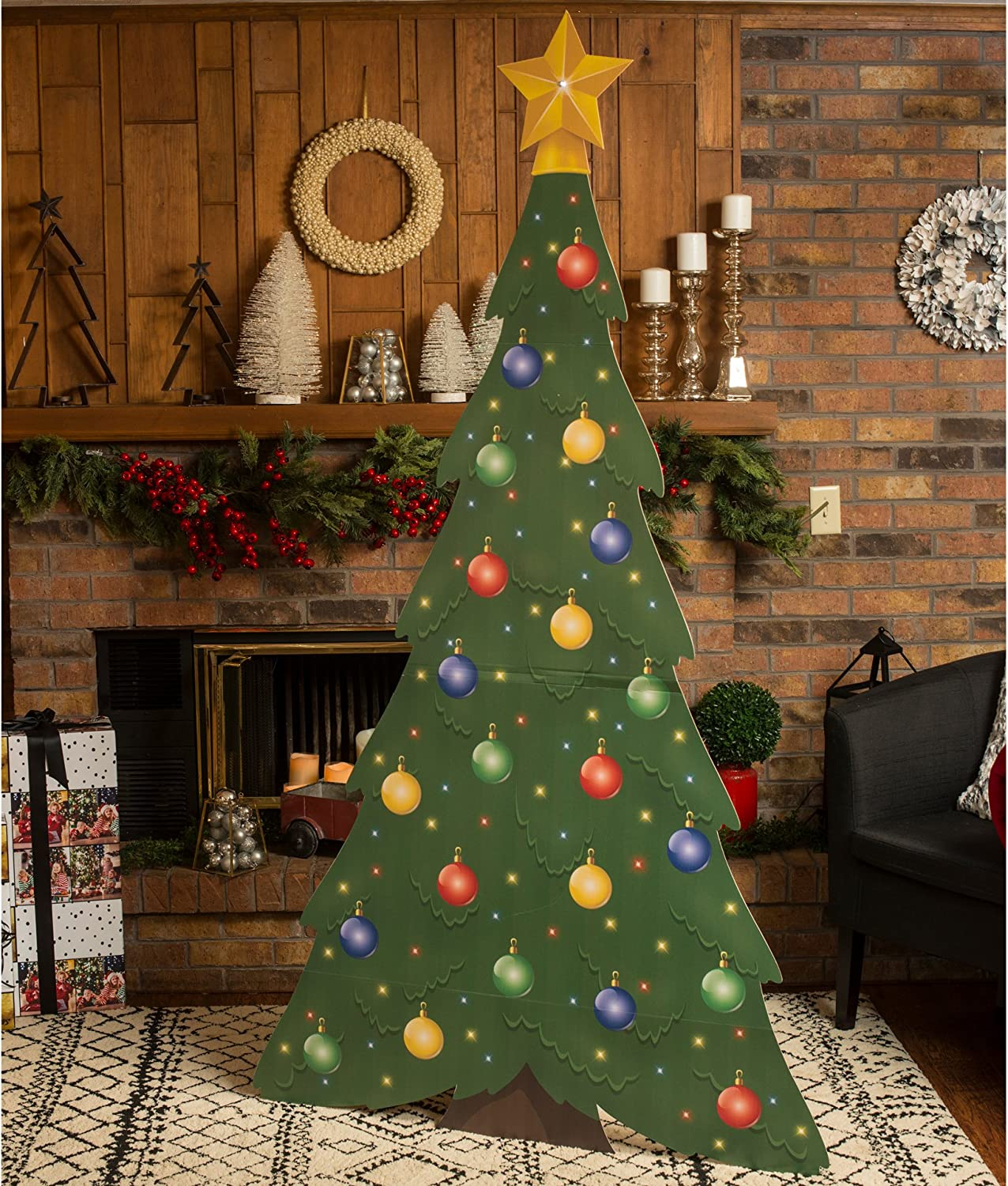 7 ft Large Christmas Tree Standee Standup Photo Booth Prop Background Backdrop Party Decoration Decor Scene Setter Cardboard Cutout
