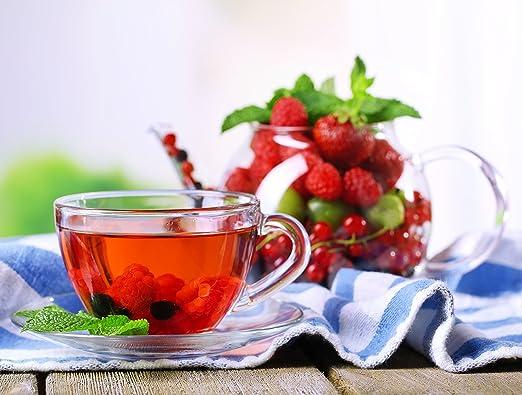 Fruit-Tea Summer Tea Sampler, Refreshing Loose Leaf Tea Assortment Featuring Blackberry, Vanilla, Tropicana, Gold Rush, Raspberry