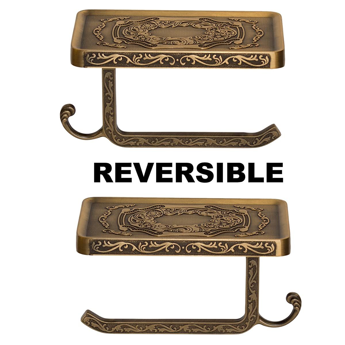 Reversible Bathroom Toilet Paper Holder with Phone Shelf and Hook, Vintage Decor Style (Bronze)