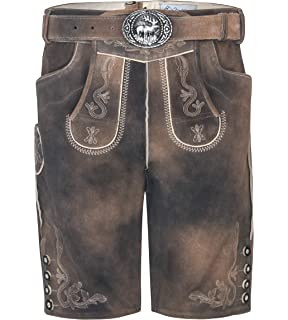 Hosentr/äger Modell Luzern Trachtenlederhose Antik Taupe inkl Herren Vintage Lederhose kurz