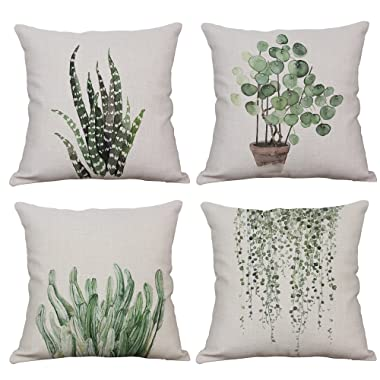 YeeJu Set of 4 Green Plant Throw Pillow Covers Decorative Cotton Linen Square Outdoor Cushion Cover Sofa Home Pillow Covers 16x16 Inch