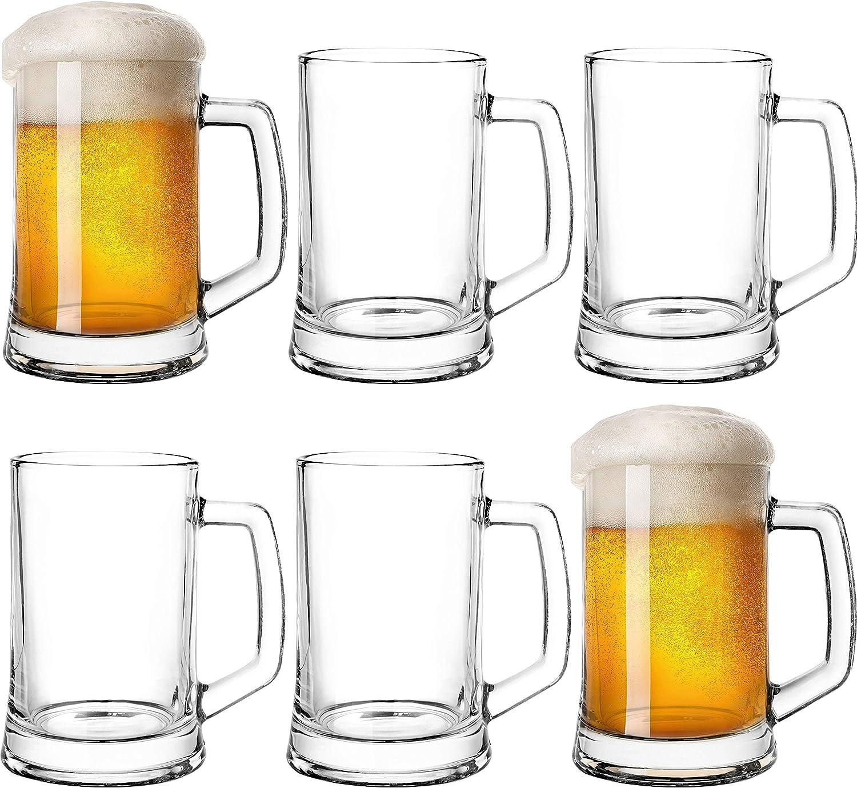 Vaso de cerveza con asa, 0,5 litros, juego de 6 piezas, Oktoberfest, jarra de cristal, cerveza, jarra de cerveza transparente