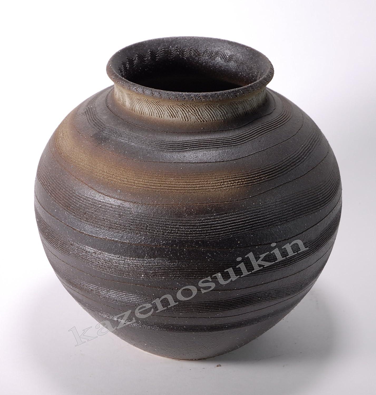 黒ぼかしくし目花瓶 (信楽焼花瓶花入れ花器Y)* B01CCRFKWG
