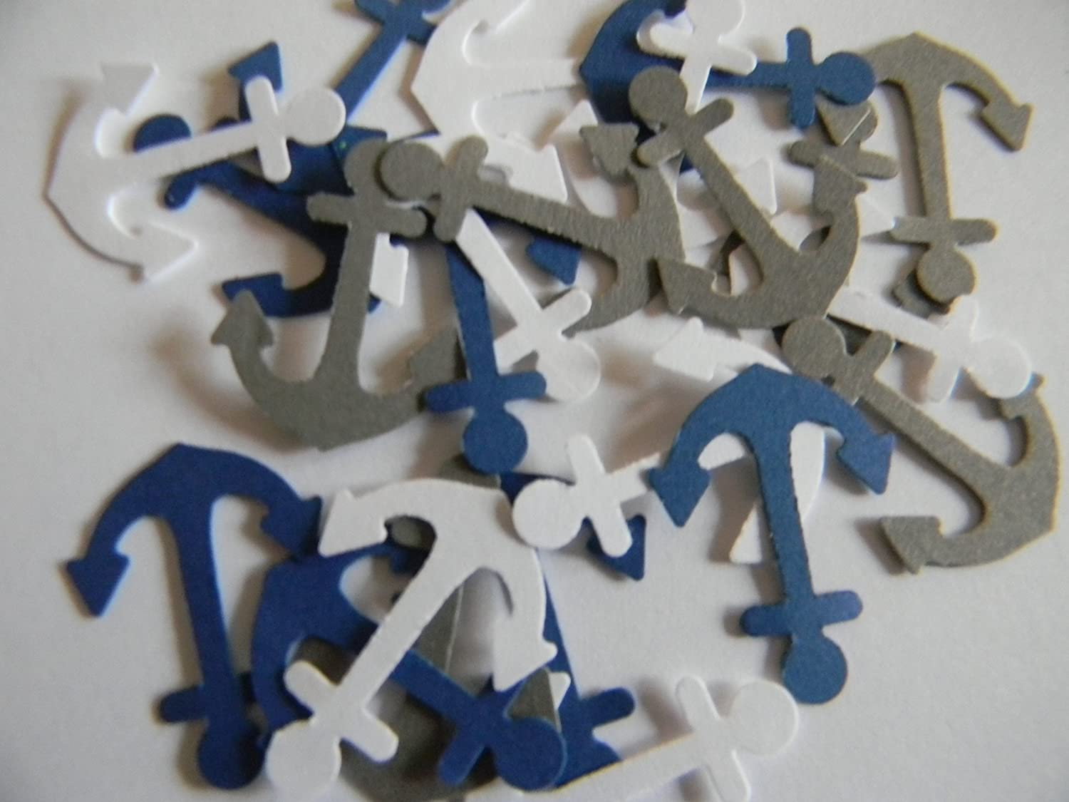 100 mixed white, gray and blue nautical anchors die cuts party decor confetti