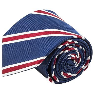 653091926cdb 100% Silk Handmade Navy Blue & Red Striped Tie Men's Necktie by John  William at Amazon Men's Clothing store: