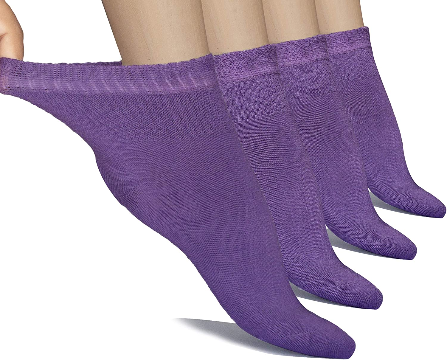Hugh Ugoli Women's Loose Diabetic Ankle Socks, Bamboo, Wide, Thin, Seamless Toe and Non-Binding Top, 4 Pairs: Clothing