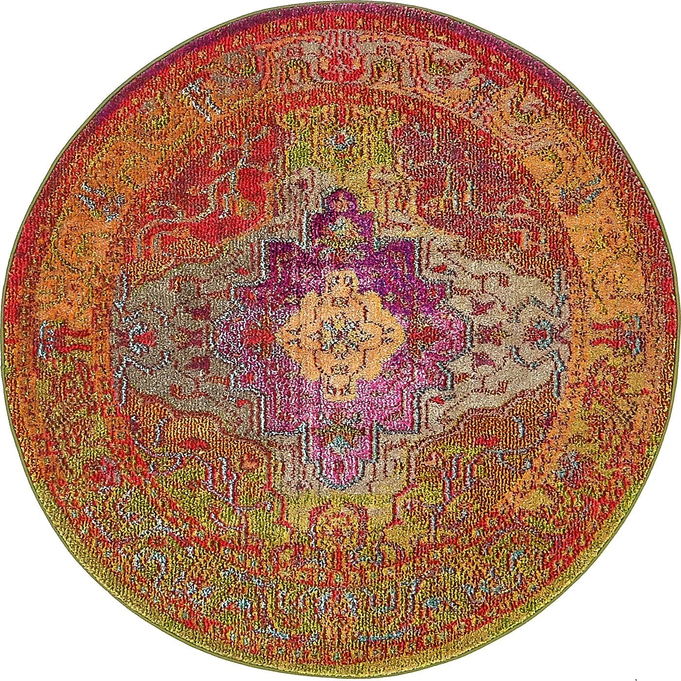 Unique Loom 3136269 Area Rug, 4 0 x 4 0 Round, Multi