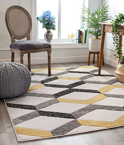 Well Woven Good Vibes Millie Gold Modern Zigzag Stripes 7 10 x 10 6 3D Texture Area Rug
