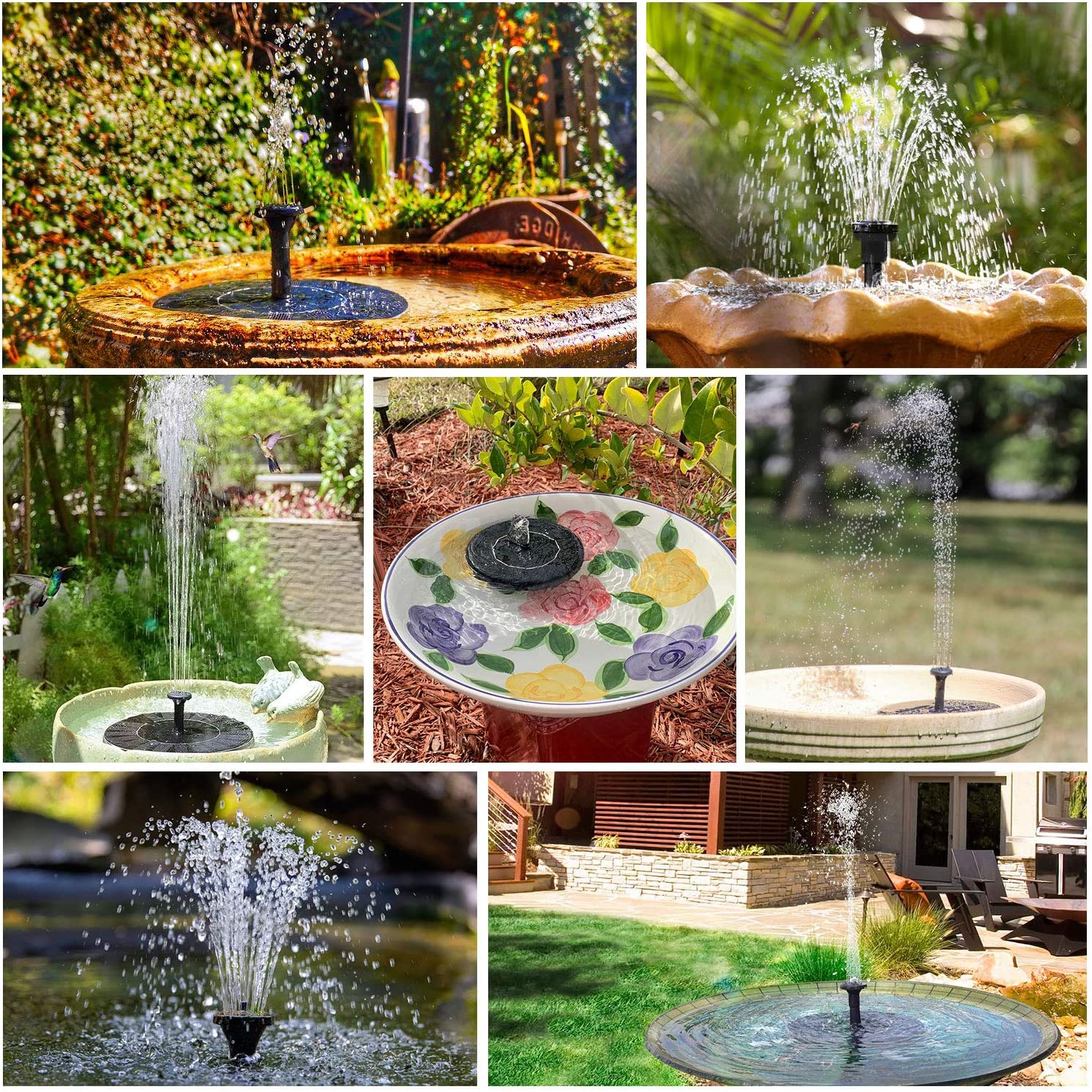 Swimming Pool for Bird Bath 6 Nozzle AISITIN Solar Water Fountain 3.5W Floating Solar Fountain Pump with Backup Battery Garden Decoration Pond