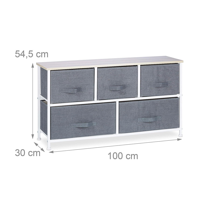 Relaxdays Cajonera Multiusos con 5 Cajones, Metal-Tela, Gris, 54.5 x 100 x 30 cm