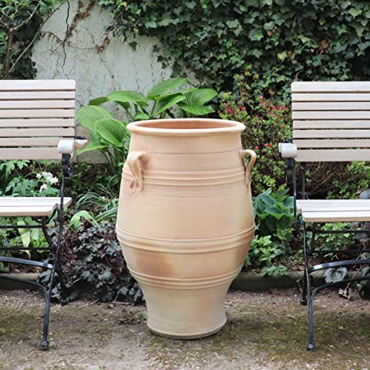 Anfora de terracota resistente a las heladas con asa de creta, hecha a mano y de alta calidad para jardín, exterior, decoración mediterránea, 40 – 130 cm: Amazon.es: Jardín