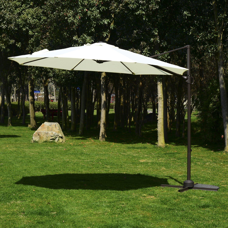 Outsunny Sombrilla Parasol Playa Separado inclinable Redondo con Tapa Giratorio de 360ºangle de inclinación Regulable & # x3 A6; 3 × 2.5 m Blanco Beige Neuf 26: Amazon.es: Jardín