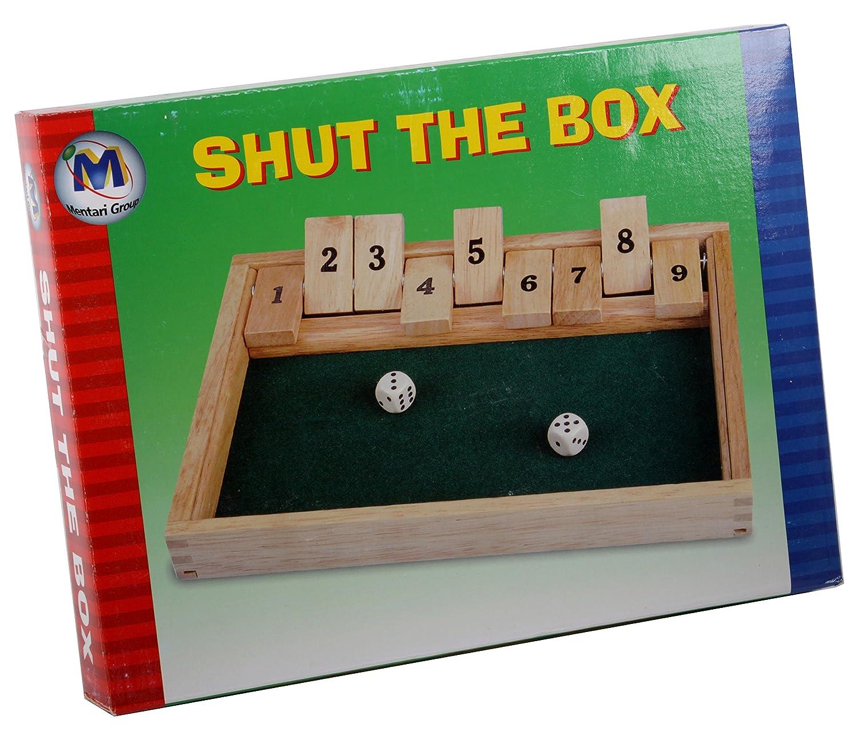 Mentari shut the Box Klappwürfelspiel Klappbrett mit 2 Würfel MT-3092