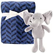 Hudson Baby Unisex Baby Plush Blanket with Toy, Elephant 2 Piece, One Size