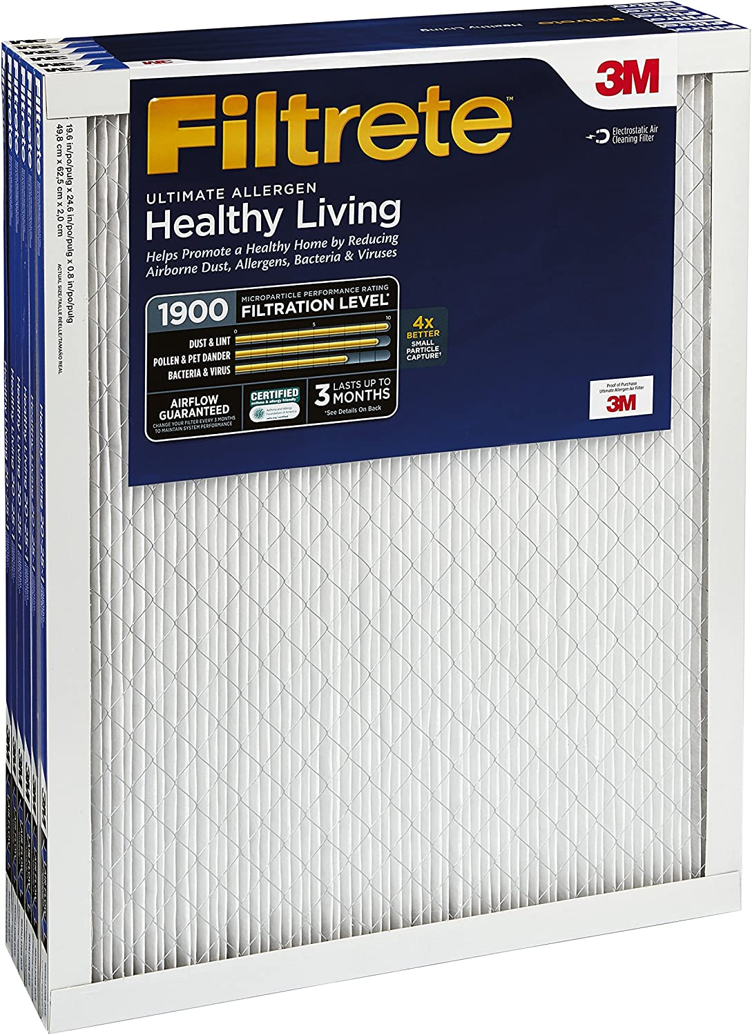 Filtrete Healthy Living Ultimate Allergen Reduction AC Furnace Air Filter 12 x 12 x 1-Inches MPR 1900 6-Pack