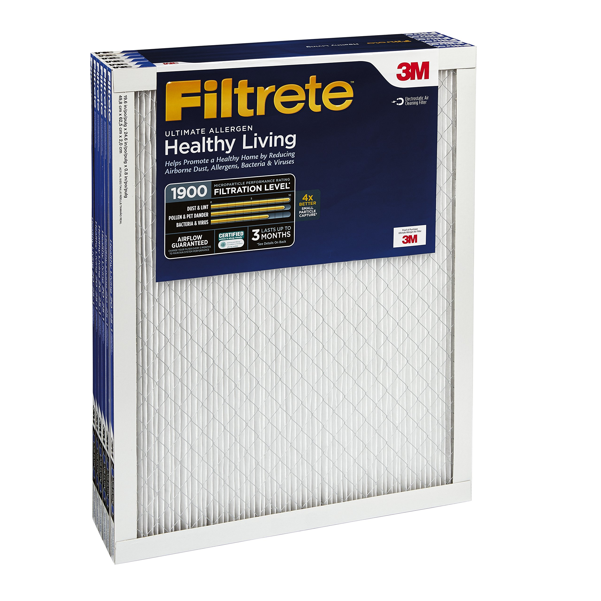 Filtrete MPR 1900 24 x 24 x 1 Healthy Living Ultimate Allergen Reduction AC Furnace Air Filter, Attracts Fine Inhalable Particles, Guaranteed Airflow up to 90 days, 6-Pack by Filtrete (Image #4)