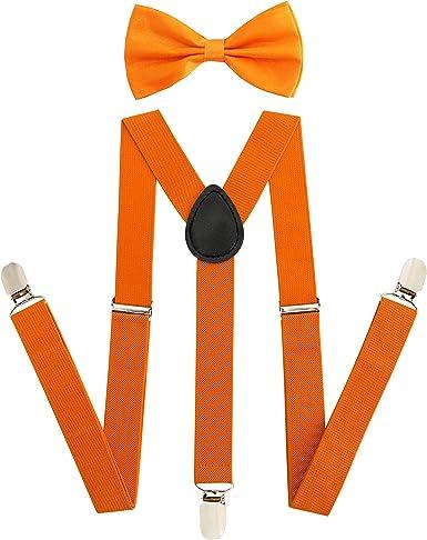 Mens Silk Suspender Bow Tie 6 Clips Elastic Heavy Duty Braces Bowtie Hanky Set
