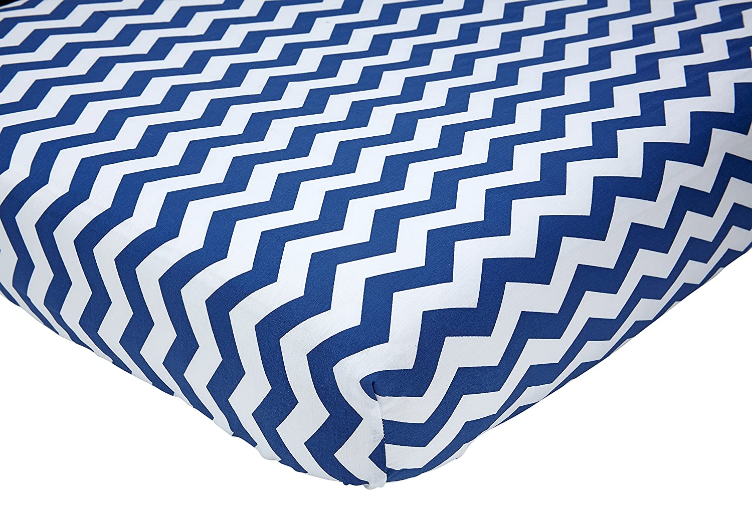 Little Love by NoJo Separates Collection Printed Chevron Crib Sheet, Navy/White, 52 X 28 52 X 28 Crown Craft Infant Products 6603003