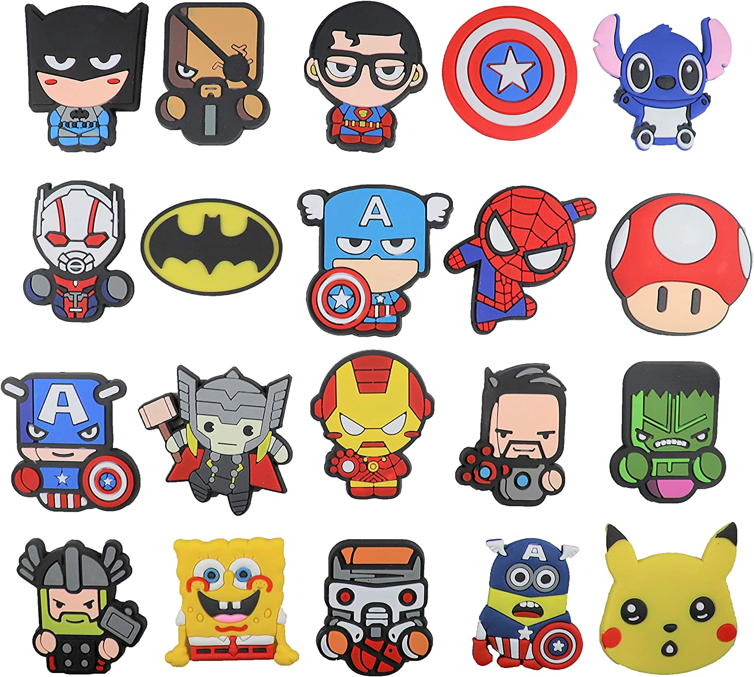 20 pcs avengers Fridge magnets and Cartoon refrigerator magnets for refrigerator, washing machine, dishwasher, cubicle, cabinet, door, locker, best gift for kids, birthday decoration party supplies