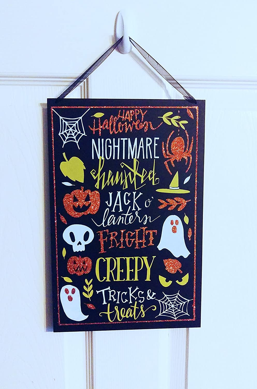 Orange//Creepy Spooky Cute Halloween Wooden Signs with Glitter Accents