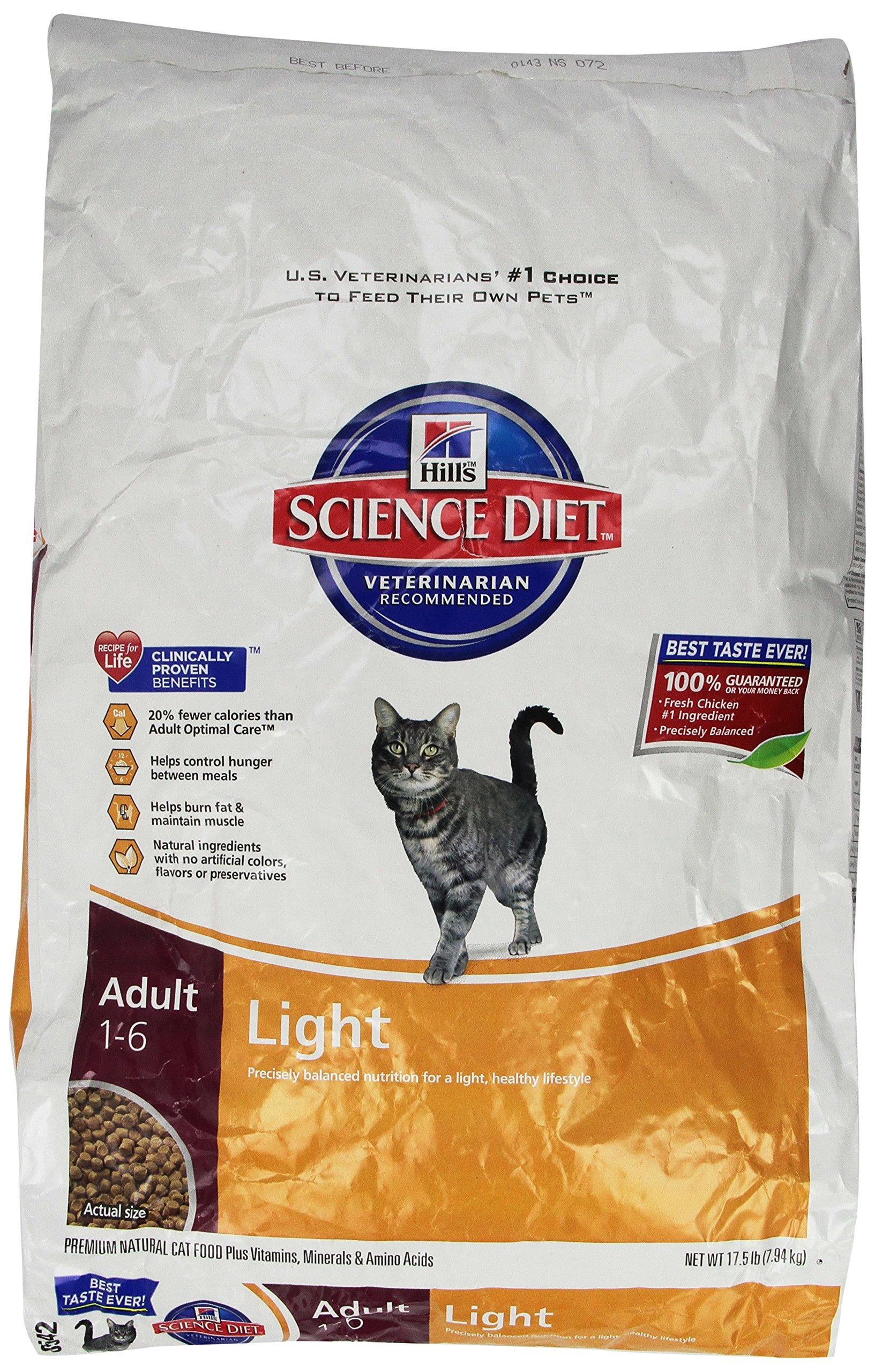 Hill'S Science Diet Adult Light Dry Cat Food, 17.5 Lb Bag by Hill's Science Diet