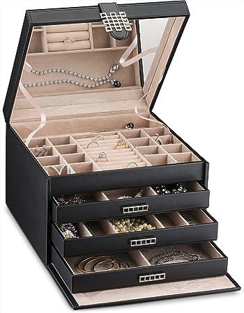Amazoncom Glenor Co Large Jewelry Box Organizer 42 Slot Classic