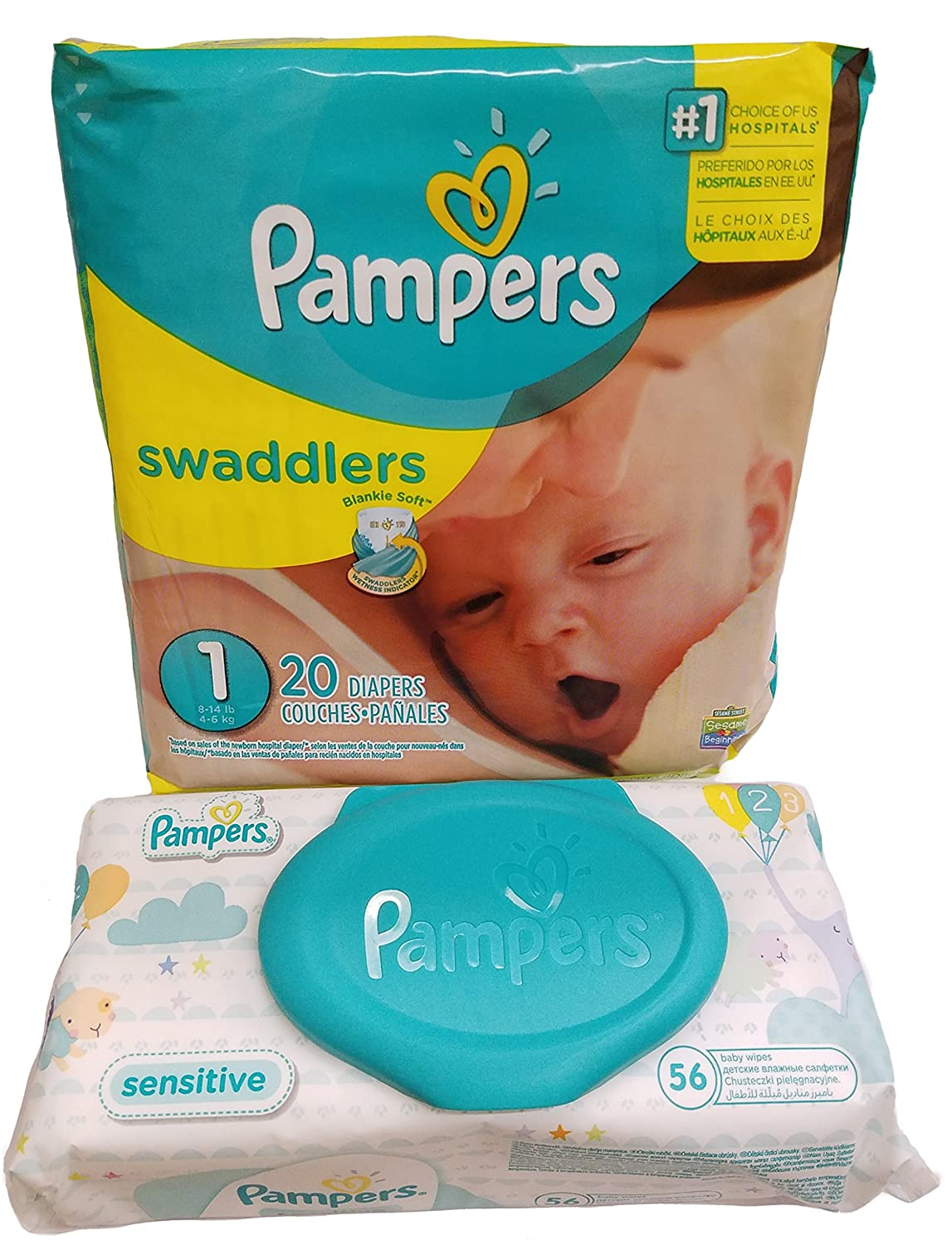 Pampers Swaddlers Diapers, Size 1, 20 Count - Pampers Sensitive Wipes Travel Pack 56 Count.